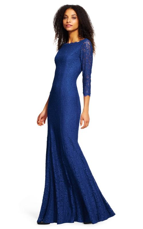 Bateau 3-4-sleeve Long Sleeve Dress With Low-V Back And Pleats