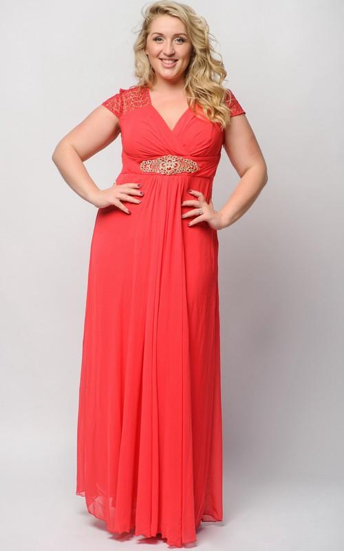 Short-Sleeve Floor-Length High-Waist Crystal Dress