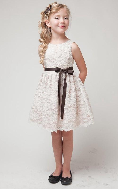 Layered Midi Slit Lace Flower Girl Dress