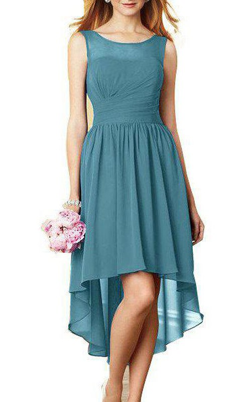 Ruched Illusion-Neck High-Low Chiffon Gown