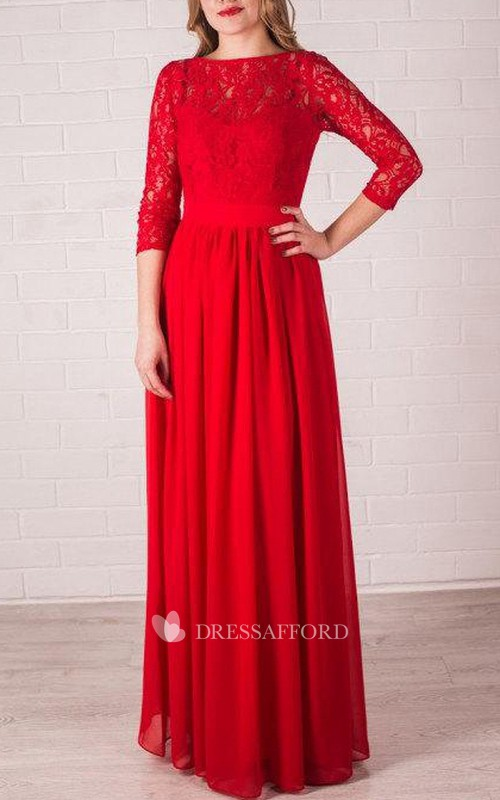 Bateau Lace 3-4-sleeve Floor-length Dress With bow