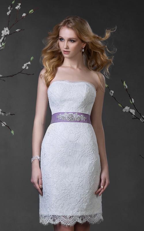 Sleeveless Waist Jewellery Short Pencil Lace Dress