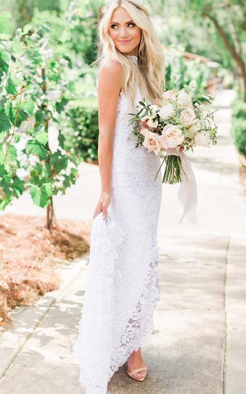 Bohemian Sleeveless High Neck Lace Sheath Floor-length Sweep Train Wedding Dress