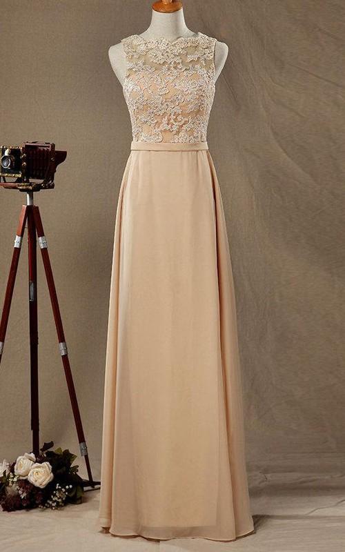 Bateau Sleeveless Floor-length Dress With Lace top And Deep-V Back