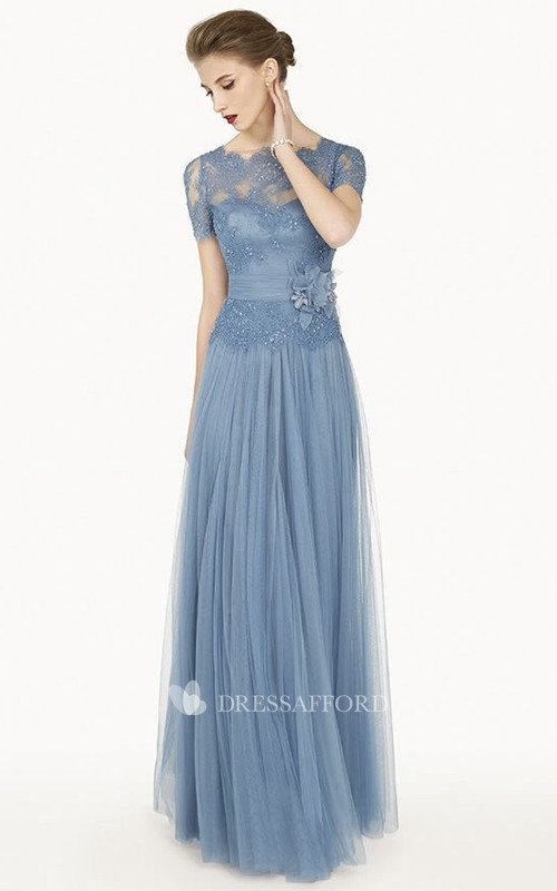Bateau Short Sleeve Tulle Dress With Flower And Lace Illusion top