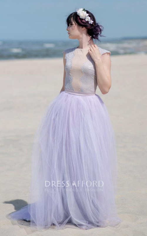 Jewel-Neck Cap-sleeve Tulle Floor-length Dress With Lace top