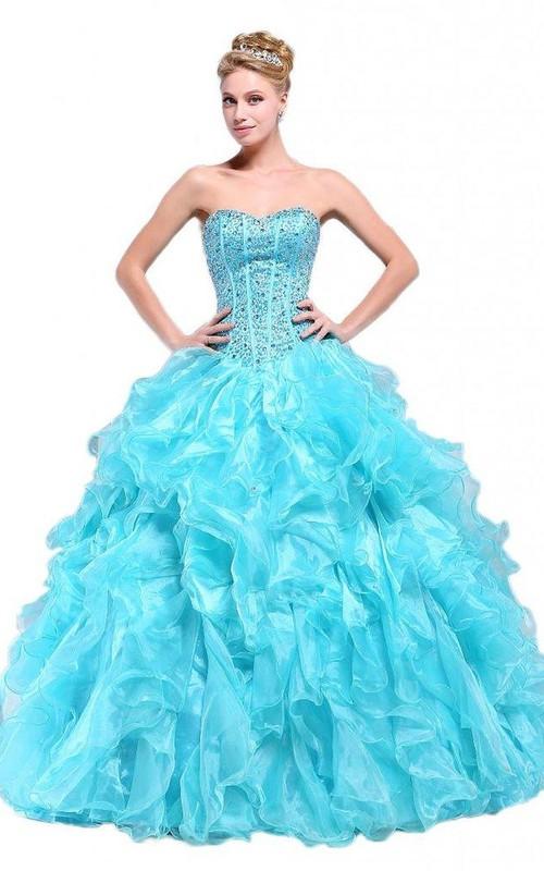 Stunning Jeweled Sweetheart Ruffled Ball Gown