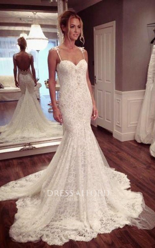 Lace Spaghetti Strap Wedding Trumpet Sassy Long-Train Dress