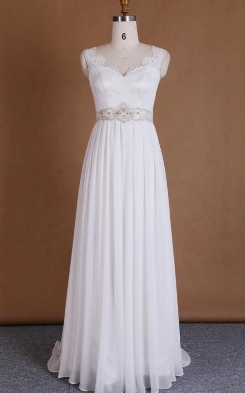 Satin Beaded Appliqued Low-V Back Chiffon V-Neckline Dress