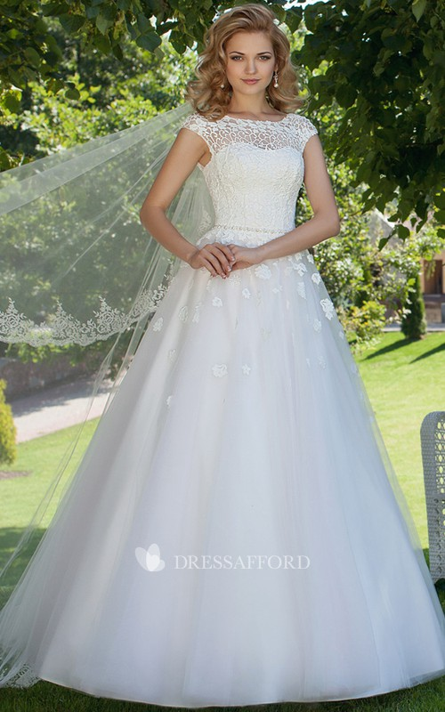 floral Bateau Cap-sleeve Lace tulle A-line Ball Gown With Embellished Waist