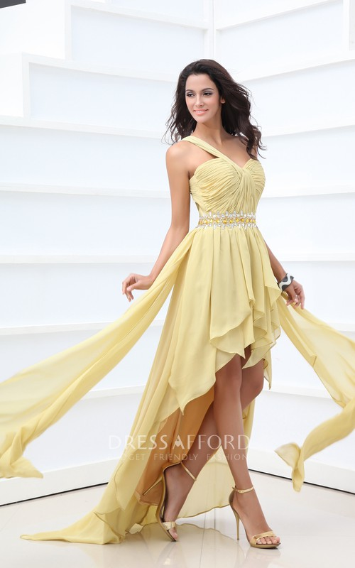 High-Low Ruched Ruffle Asymmetrical Ethereal Gown