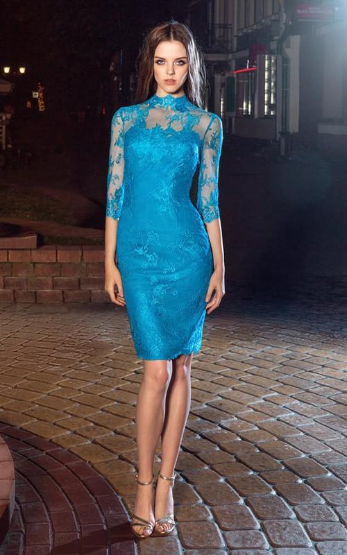 Pencil Split Back Appliqued Knee-Length High-Neck Lace Half-Sleeve Illusion Dress