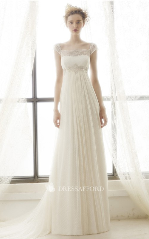 Bateau Cap-sleeve Tulle Empire Wedding Dress With Lace