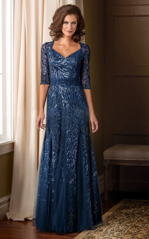 Half Sleeve Illusion Tulle Floor-length Dress With Sequins