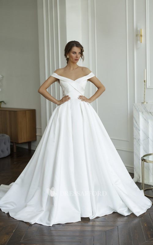 Illusion Off-the-shoulder Criss Cross Satin Wedding Dress With Illusion Keyhole Back And Buttons