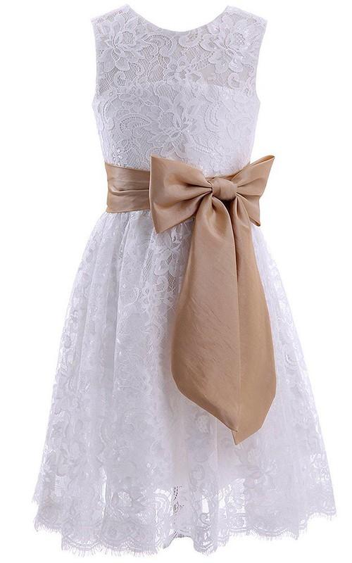 Jewel-Neck Sleeveless short Knee-length Lace Dress With bow
