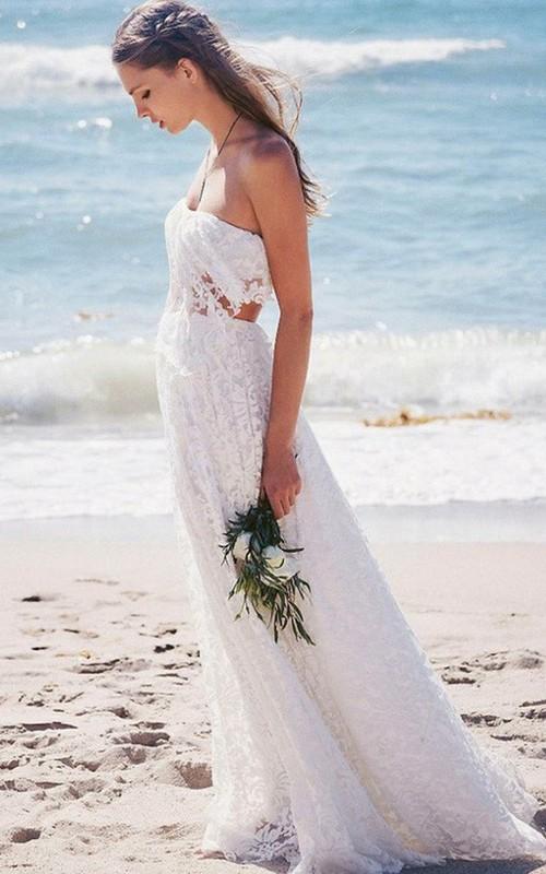 Strapless Lace  Sleeveless Wedding Dress