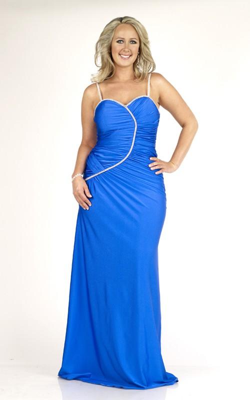 Spaghetti Sleeveless Ruched plus size Dress With Zipper