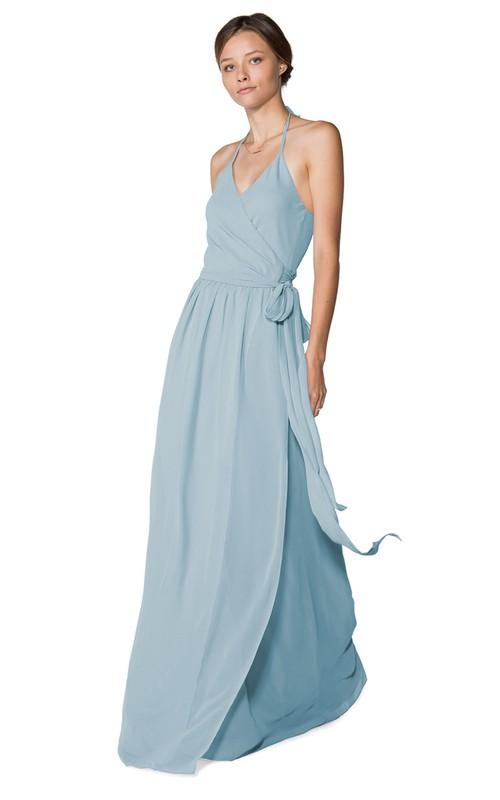 Long-Chiffon Lavish Halter Dress With Layers