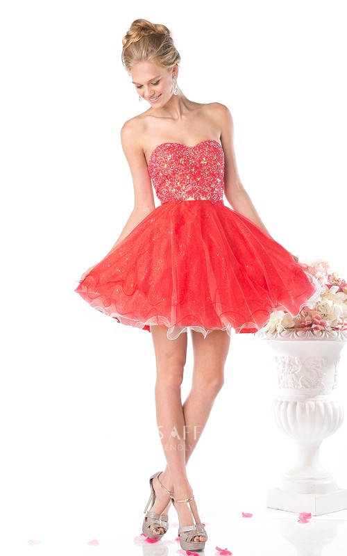 Multi-Color Backless Sleeveless Ruffled Jeweled A-Line Short Sweetheart Mini Strapless Dress