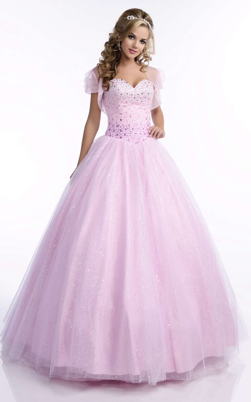 blushing Beaded Ball Gown Quinceanera Dress With cape And Corset Back