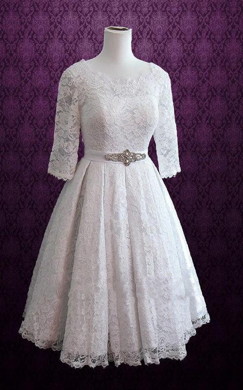 Bateau Lace Half Sleeve short A-line Wedding Dress With Pleats