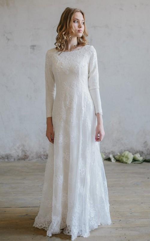 Modest Lace Scoop Neckline Wedding Dress