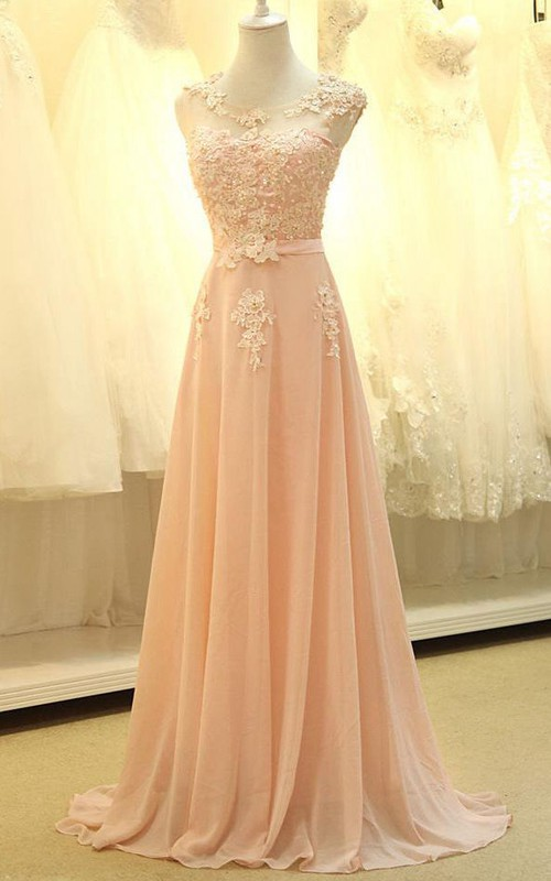 Sleeveless Lace Appliqued Long A-Line Chiffon Dress