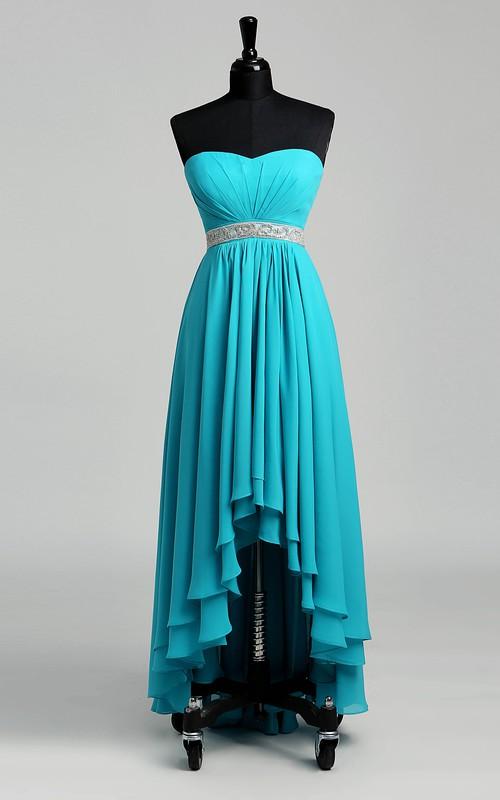 Sweetheart Sleeveless Natural Beading Ruffles Dress