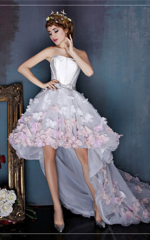 Cute Sleeveless Open Back High-low Dress With 3D Floral Appliques And Delicate Bow