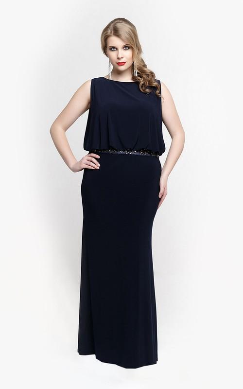 Jersey Blouson Top Sleeveless Bateau-Neck Gown