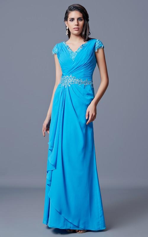 Side-Draped V-Neck Sassy Chiffon Dress