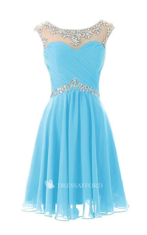Scoop-neck Criss-cross ruched short Chiffon Dress With Crystal Detailing