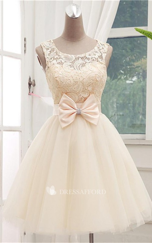 Scoop-neck Sleeveless short Tulle A-line Dress With Lace And bow