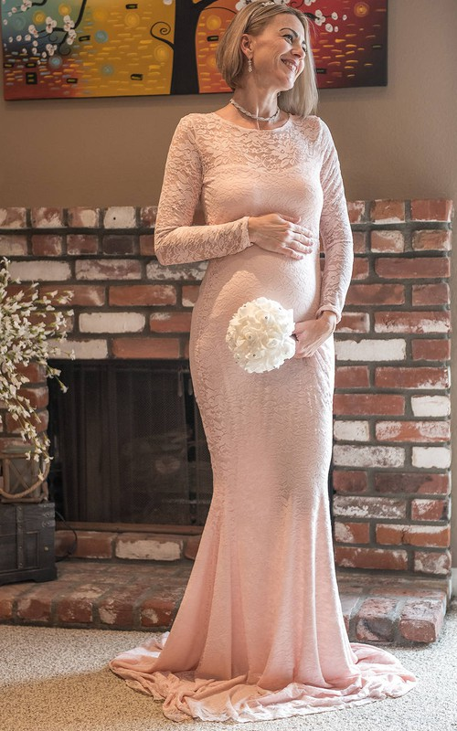 Jewel Long Sleeve Lace Pleated Ruched Ruffled Maternity Dress