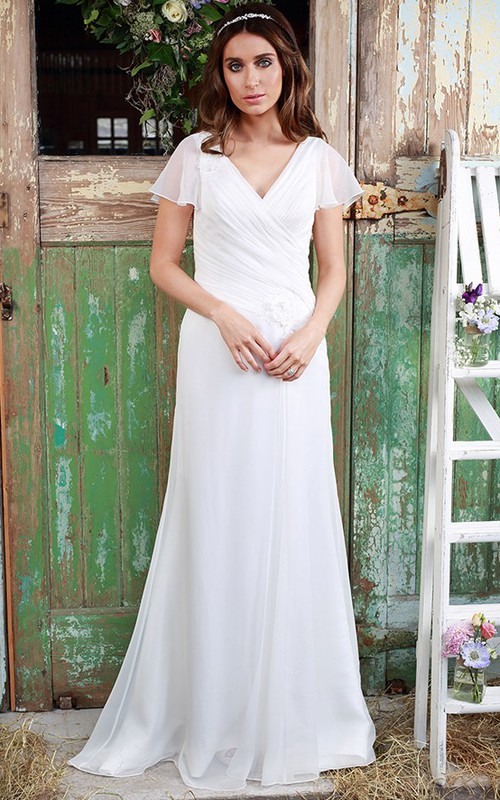 Plunged Chiffon Poet-sleeve Ruched Wedding Dress With Flower