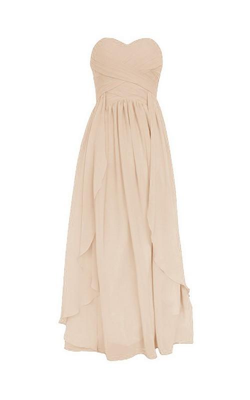 Layered Ruffled Short-Midi Sweetheart Chiffon Gown