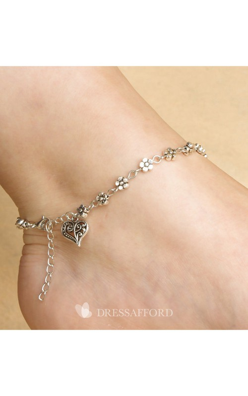 Retro Silver Heart-Shaped Anklet Jewelry 27Cm