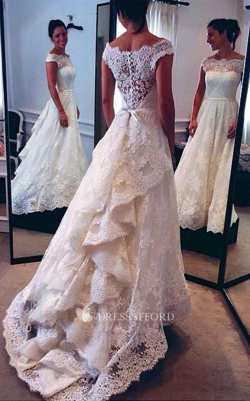 Off-the-shoulder Lace Illusion Short Sleeve Wedding Gown