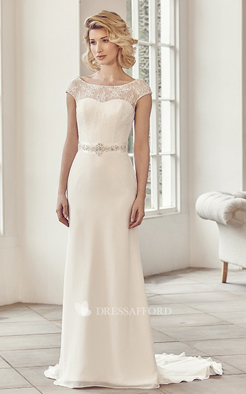 Scoop-neck Cap-sleeve Sheath Lace Dress With Low-V Back And Embellished Waist