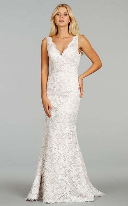 V-Neckline Lace Sleeveless Classic Floor-Length Dress