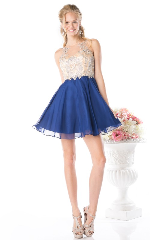 A-Line Beaded Short Mini Sleeveless Jewel-Neck Illusion Dress