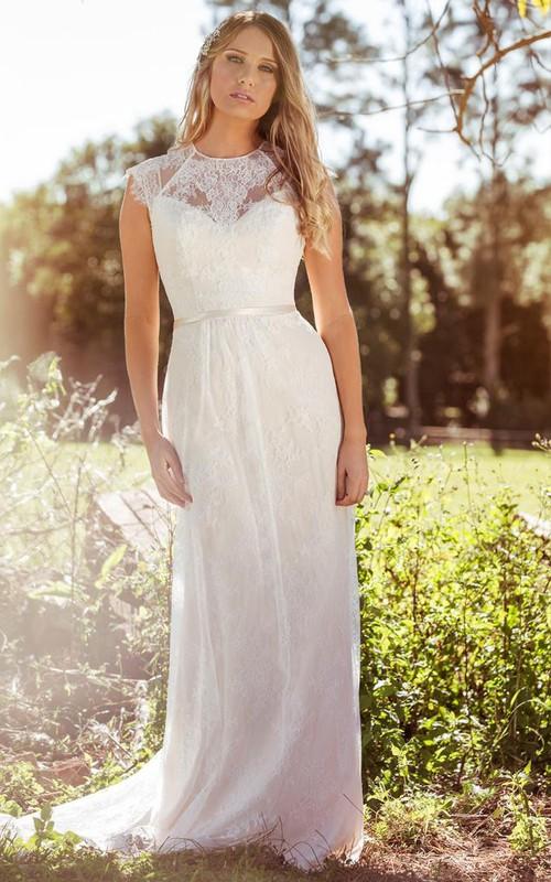 Jewel-Neck Sleeveless Lace Sheath Dress With Illusion And Sweep Train