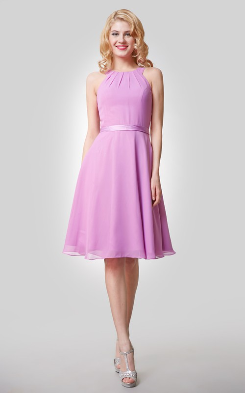 Strapped Satin Bow Sash Knee-Length Chiffon Gown