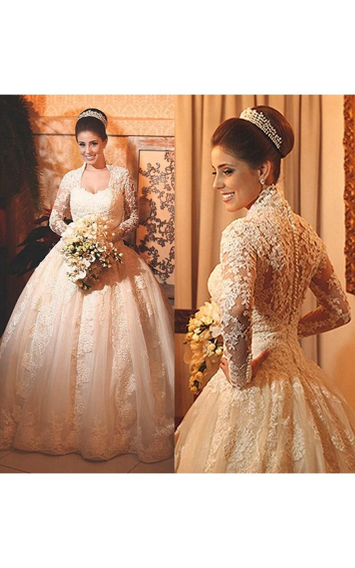 Modern Lace Long Sleeve 2018 Wedding Dress Ball Gown Button Zipper Back