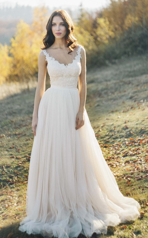 Illusion Bateau Neck Sleeveless Tulle Wedding Dress With Lace Detailed Top And Illusion Back
