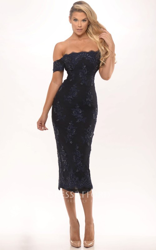 Off-the-shoulder Pencil Lace Tea-length Dress With Split Back