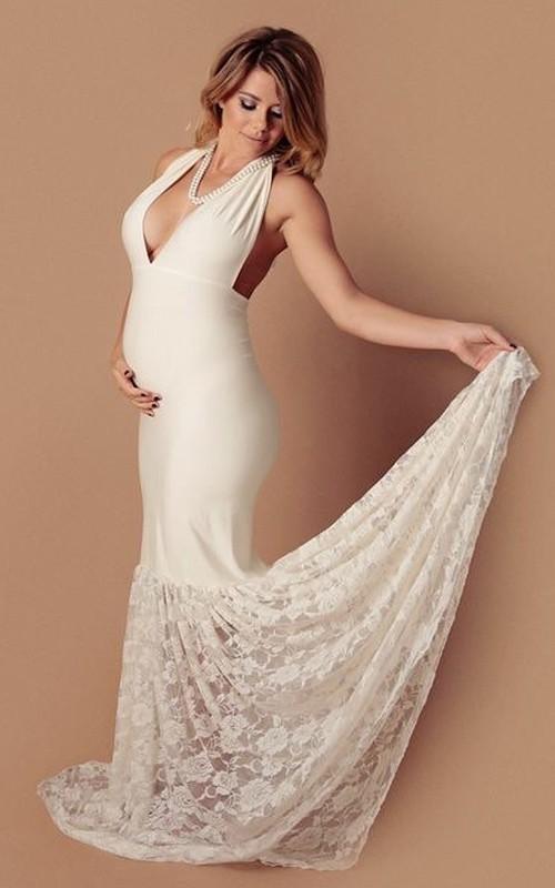 Mermaid V-neck Lace Pleated Sleeveless Court Train Jersey Lace Maternity Wedding Dress