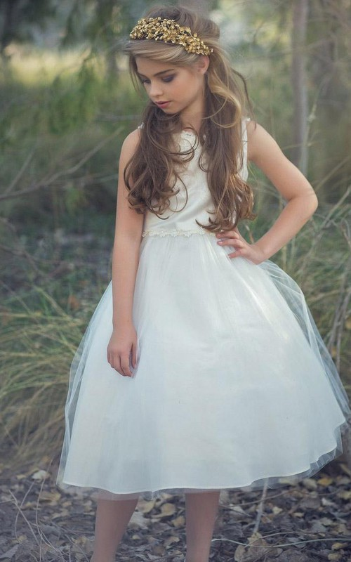 Appliqued Layers Tea-Length Floral Sequined Flower Girl Dress