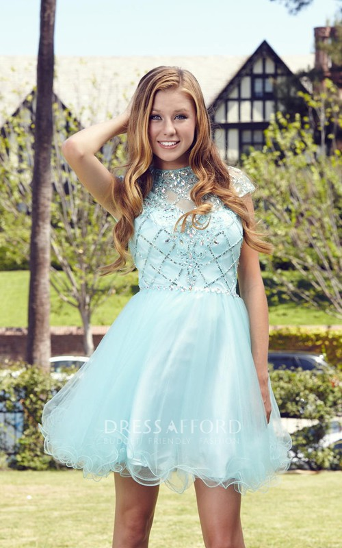 A-Line Short Jewel-Neck Sleeveless Tulle Satin Dress With Beading